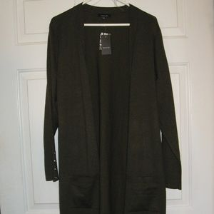 Verve Ami Green Open Front Cardigan Duster NWT 1X